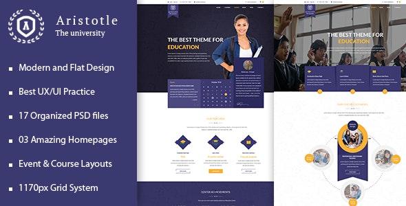 Aristotle - Professional PSD Template for Education - Corporate Photoshop