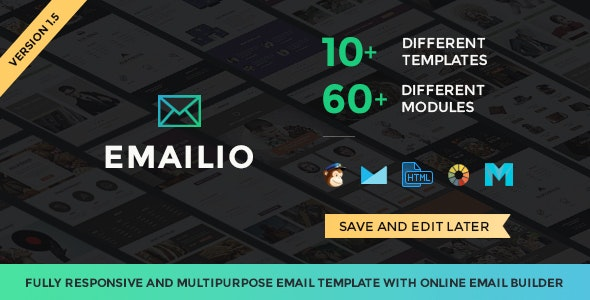 Emailio Responsive Multipurpose Email Template With Online Builder - Newsletters Email Templates
