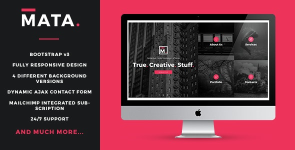 MATA - Responsive Coming Soon Template - Under Construction Specialty Pages