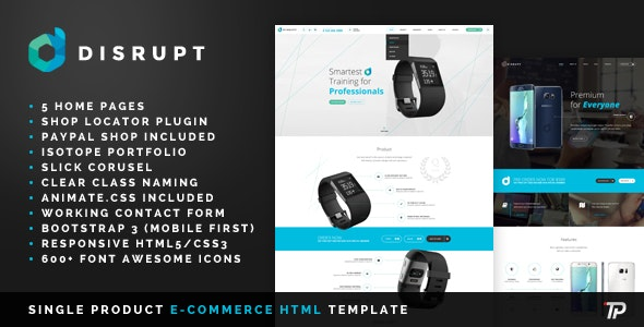 Disrupt - Single Product e-Commerce HTML Template - Technology Site Templates