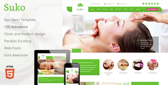 Suko - Spa Salon Responsive Template  - Health & Beauty Retail