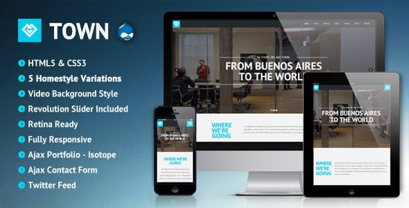 Town - Responsive Multi-Purpose One Page Drupal 7 Theme