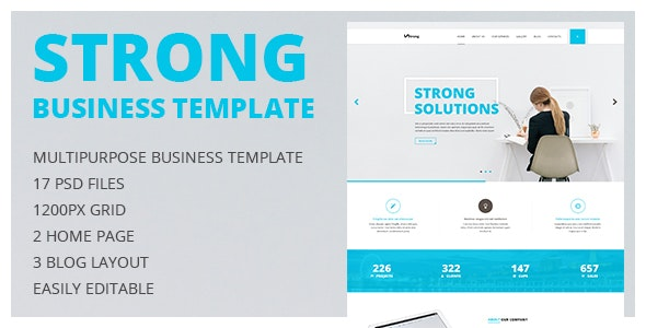 Strong — Multipurpose Business and Portfolio PSD Template with Clean Minimal Design - Corporate Photoshop