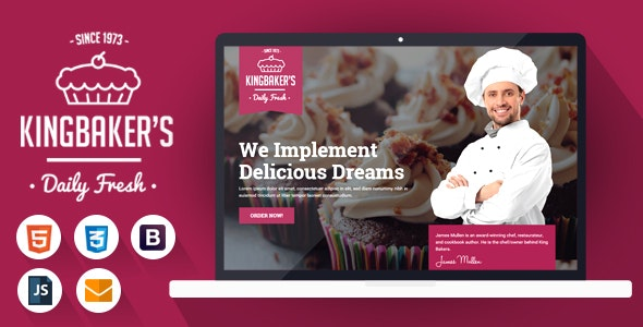 King Baker's - HTML Landing Page Template - Landing Pages Marketing