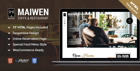 Maiwen Coffee and Restaurant HTML5 template - Food Retail