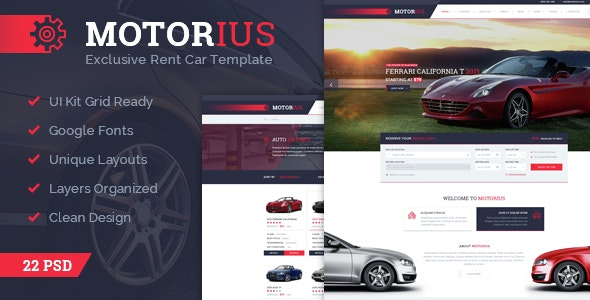 Motorius — Exclusive Sell/Rent Cars PSD Template - Business Corporate