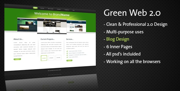 Clean & Professional - Green Web 2.0 - - Creative Site Templates