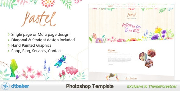 Pastel - Hand Painted Floral PSD - Creative Photoshop
