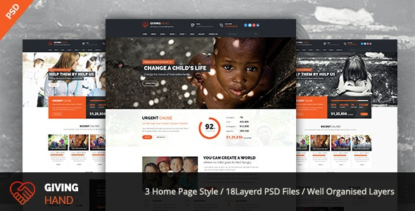 GIVINGHAND - Charity & Fundraising  PSD Template - Charity Nonprofit