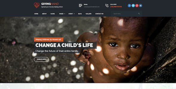GIVINGHAND - Charity & Fundraising  PSD Template