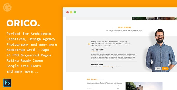 Orico - Creative & Architect Agency PSD Template - Creative PSD Templates