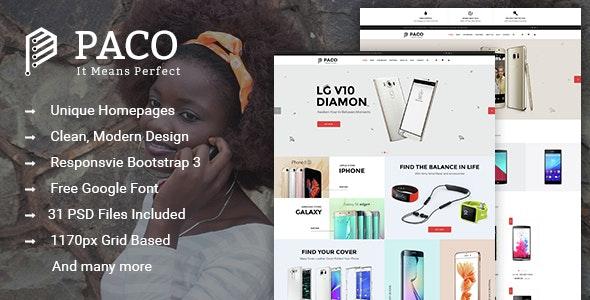 Paco - Multi-Purpose eCommerce PSD Template - Retail PSD Templates