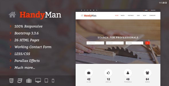 Handyman - Job Board HTML Template - Miscellaneous Site Templates