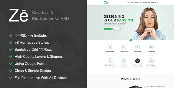 Ze - Creative & Multipurpose PSD Template. - Creative Photoshop