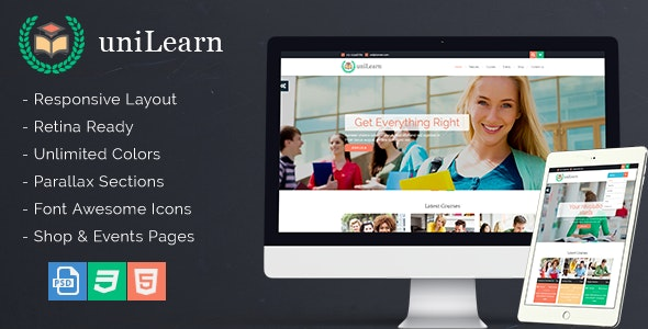 UniLearn - Education and Courses Template - Corporate Site Templates