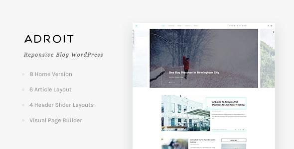 Adroit - Reponsive Blog WordPress Theme - Personal Blog / Magazine