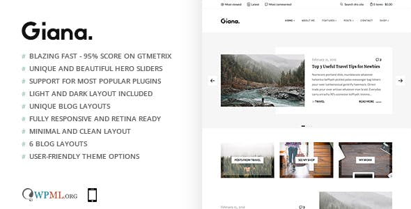 Giana - Minimal and Clean WordPress Blog Theme