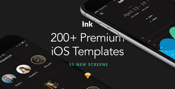 Ink: Ultimate UI Kit of 200+ iOS Templates for Sketch - Sketch UI Templates