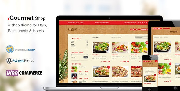 Gourmet Shop - The Restaurant & Bar WordPress Theme - Restaurants & Cafes Entertainment