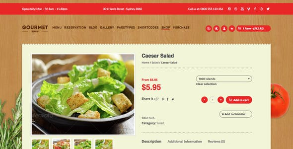 Gourmet Shop - The Restaurant & Bar WordPress Theme