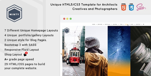 Minty - For Agency, Architect & Photographers, Creatives - Creative Site Templates