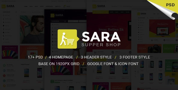Sarashop - Ecommerce PSD Template - Retail PSD Templates