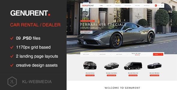 Genurent - Car Rental Service PSD Template - Business Corporate