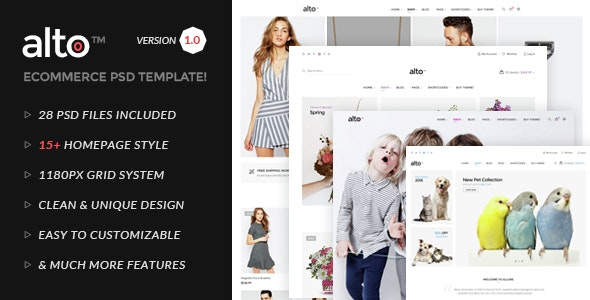 Alto | Multipurpose  E-commerce PSD Template - Retail Photoshop