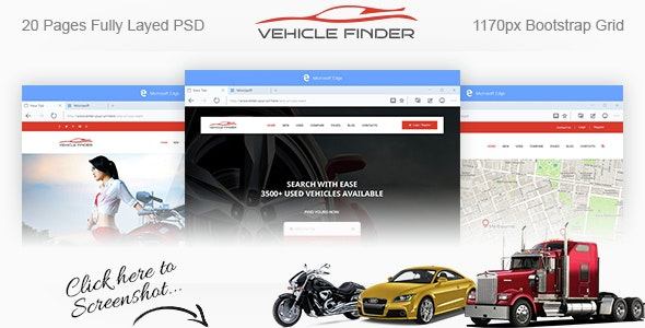 Vehicle Finder and Booking PSD Template - Retail Photoshop