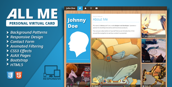 All Me Responsive vCard - Virtual Business Card Personal