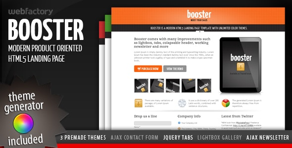 Booster - Product Focused HTML5 Landing Page - Apps Technology