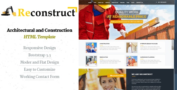 Reconstruct- Construction and Builder HTML Template - Business Corporate