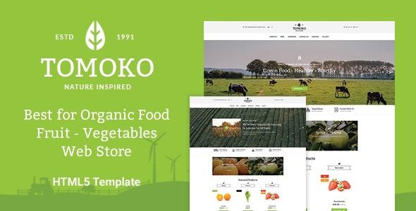 Organic Food/Fruit/Vegetables Responsive Web Store Template - Tomoko - Food Retail