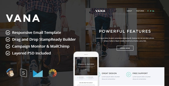 Vana - Responsive Email + StampReady Builder - Newsletters Email Templates