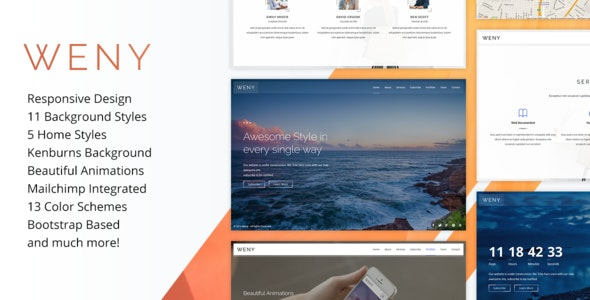Weny - Responsive Coming Soon Template - Under Construction Specialty Pages