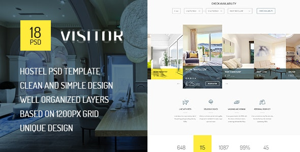 Visitor — Online Hostel, Hotel Booking PSD Template - Travel Retail