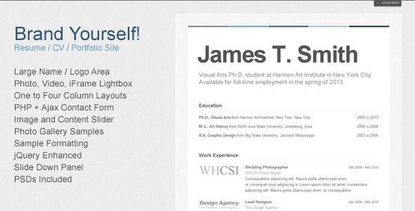 Brand Yourself - Resume / CV / Portfolio - Personal Site Templates