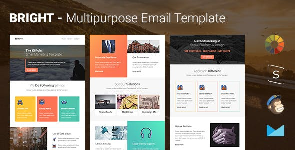 Bright - Multipurpose Responsive Email Template with Online Stampready & Mailchimp Builders Access