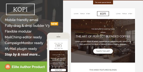Kopi, Restaurant Email Template + Builder Access