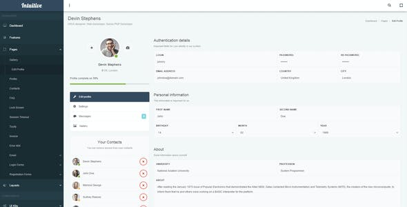 Intuitive - Bootstrap Admin Dashboard Template