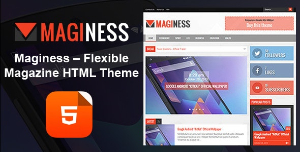Maginess - Magazine HTML Template  - Business Corporate