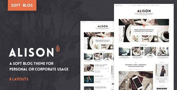 Anne Alison - Soft Personal Blog Theme - Personal Blog / Magazine