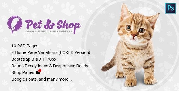 Pet & Shop | Premium Pet Care PSD Template - Retail Photoshop