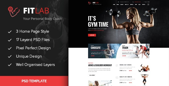FITLAB - Fitness, GYM & Health PSD Template - Health & Beauty Retail