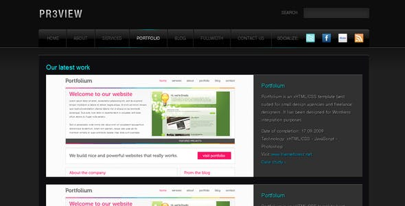Preview - Fancy Dark xHTML/CSS theme