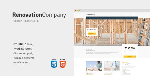 Renovation Company - Construction and Building HTML5 Template