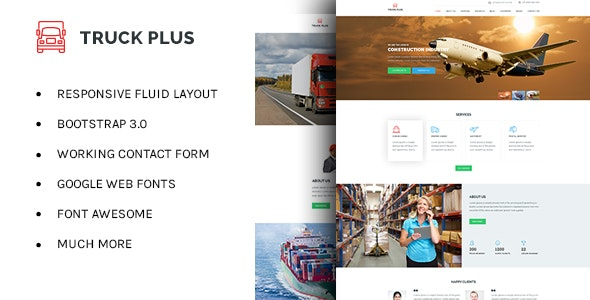 Truck Plus - Transportation and Logistics HTML Template - Business Corporate