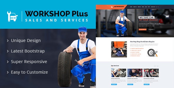 Workshop Plus - Services & Repaires HTML Template - Business Corporate