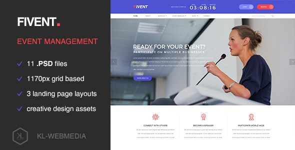 Fivent - Conference & Event PSD Template - Events Entertainment