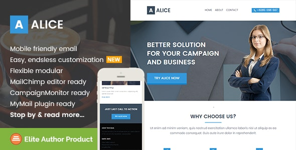 Alice, Business Email Template + Builder Access - Email Templates Marketing